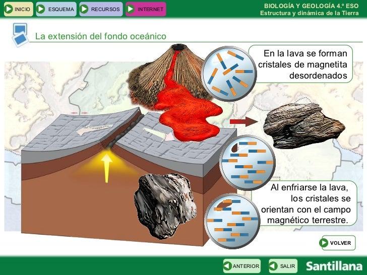 La extensión del fondo oceánico En la lava se forman cristales de magnetita desordenados Al enfriarse la lava,  los crista...