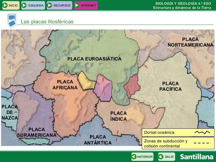 Las placas litosféricas PLACA PACÍFICA PLACA NORTEAMERICANA PLACA EUROASIÁTICA PLACA ÍNDICA PLACA AFRICANA PLACA ANTÁRTICA...