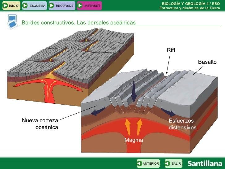 Bordes constructivos. Las dorsales oceánicas Magma Rift Nueva corteza oceánica Basalto Esfuerzos distensivos INICIO ESQUEM...