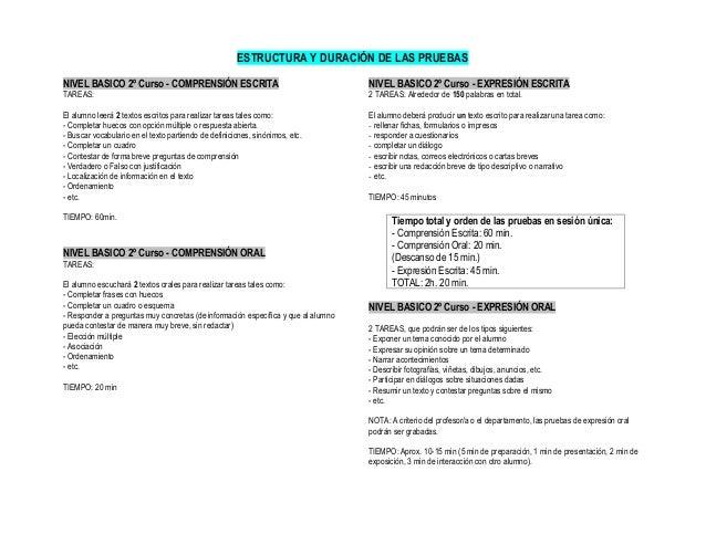 ESTRUCTURA Y DURACIÓN DE LAS PRUEBAS NIVEL BASICO 2º Curso - COMPRENSIÓN ESCRITA TAREAS: El alumno leerá 2 textos escritos...