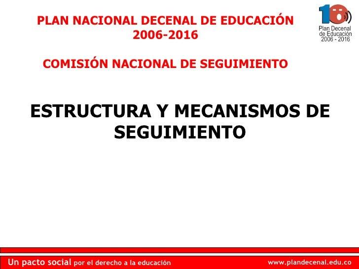 ESTRUCTURA Y MECANISMOS DE SEGUIMIENTO PLAN NACIONAL DECENAL DE EDUCACIÓN 2006-2016 COMISIÓN NACIONAL DE SEGUIMIENTO
