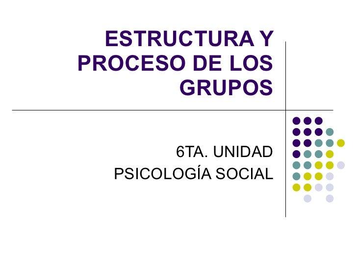 ESTRUCTURA Y PROCESO DE LOS GRUPOS 6TA. UNIDAD PSICOLOGÍA SOCIAL