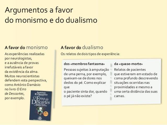 Argumentos a favor do monismo e do dualismoA favor do monismo        A favor do dualismoAs ...