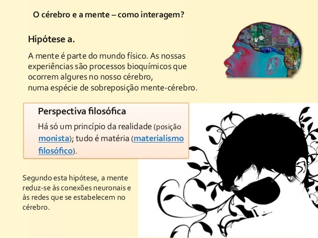 O cérebro e a mente – como interagem?   Hipótese a.  A mente é parte do mundo físico. As ...