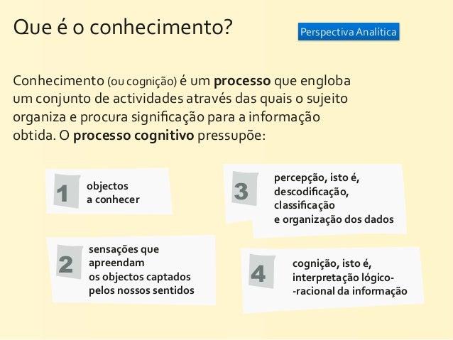 Que é o conhecimento?                                    Perspectiva AnalíticaConhecimento (ou cognição) é...