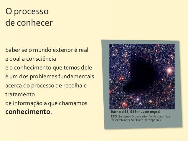 O processo de conhecerSaber se o mundo exterior é real e qual a consciência e o conhecimen...