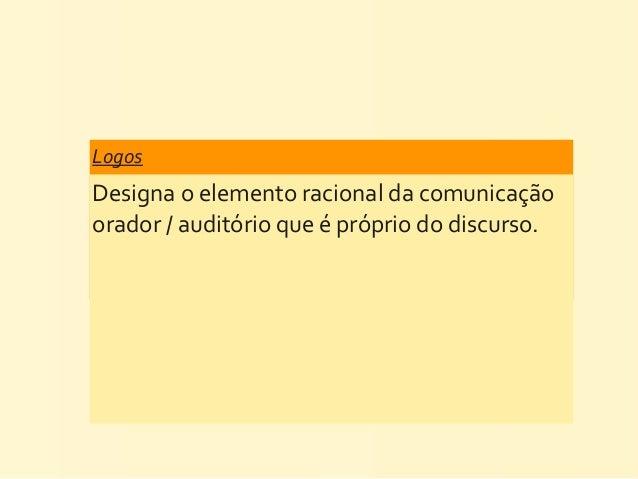 Logos Designa o elemento racional da comunicação orador / auditório que é próprio do discurso.