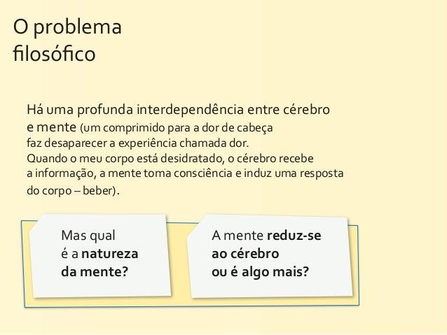 O problema filosófico  Há uma profunda interdependência entre cérebro   e mente (um comprimido para...