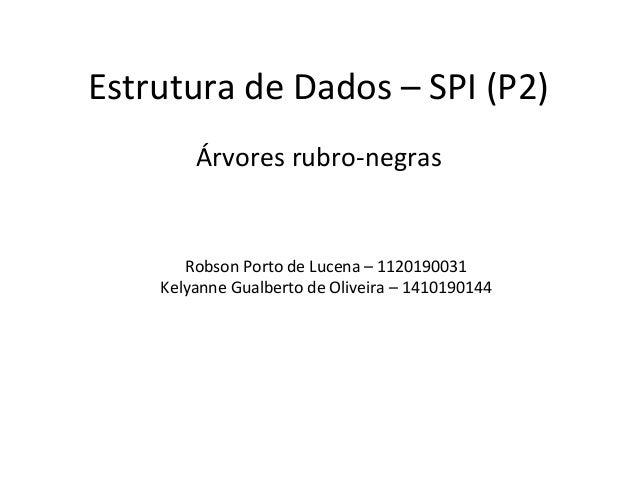Estrutura de Dados – SPI (P2)  Árvores rubro-negras  Robson Porto de Lucena – 1120190031  Kelyanne Gualberto de Oliveira –...