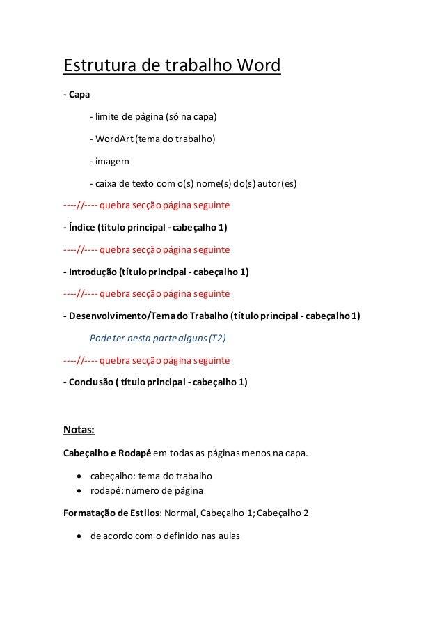 Estrutura de trabalho Word - Capa - limite de página (só na capa) - 94aaba4b717