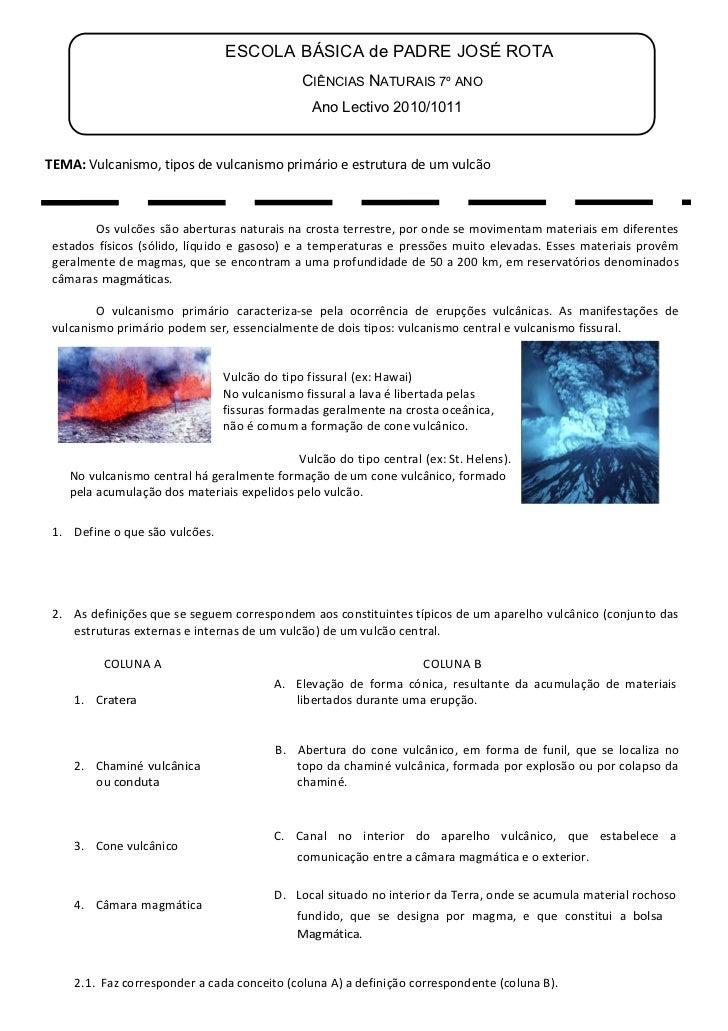 ESCOLA BÁSICA de PADRE JOSÉ ROTA                                              CIÊNCIAS NATURAIS 7º ANO                    ...