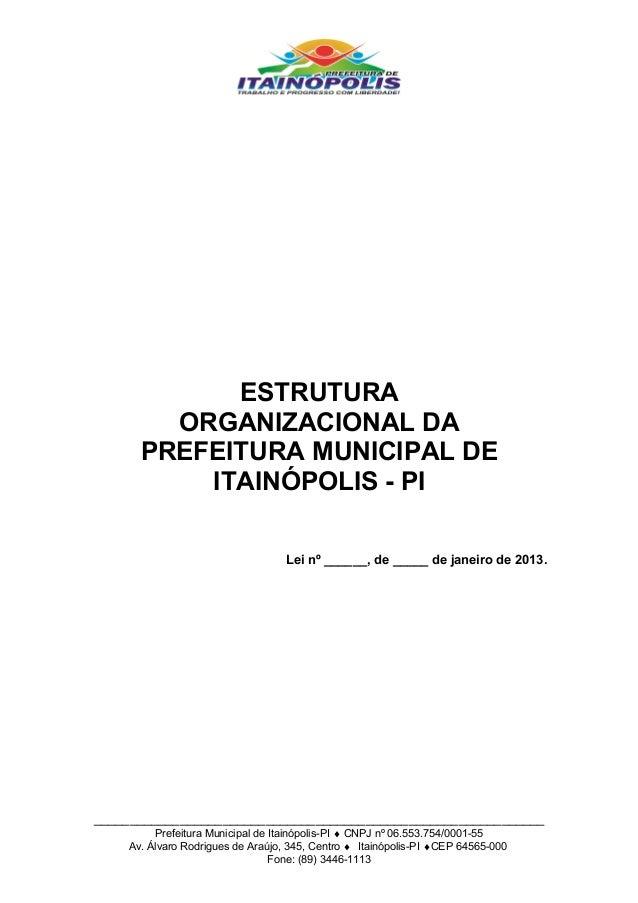 ESTRUTURA        ORGANIZACIONAL DA      PREFEITURA MUNICIPAL DE          ITAINÓPOLIS - PI                                 ...