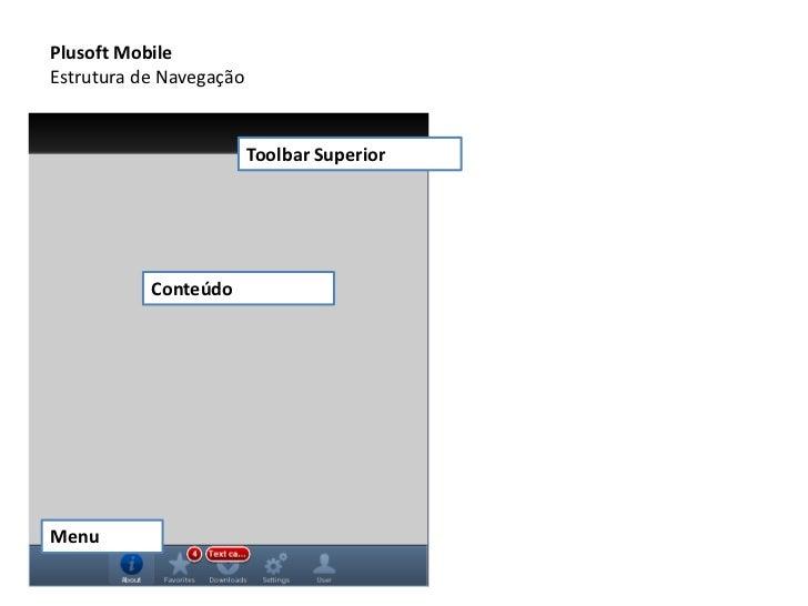 Plusoft Mobile<br />Estrutura de Navegação<br />Toolbar Superior<br />Conteúdo<br />Menu<br />