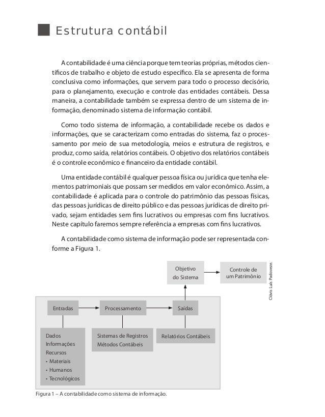 Estrutura contábil A contabilidade é uma ciência porque tem teorias próprias, métodos cien- tíficos de trabalho e objeto d...