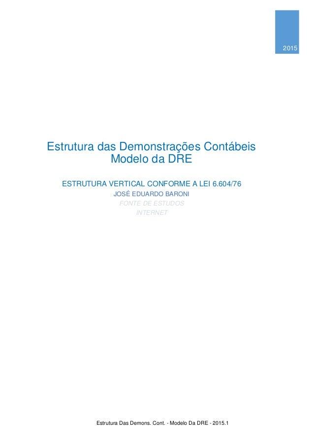 Estrutura Das Demons. Cont. - Modelo Da DRE - 2015.1 2015 Estrutura das Demonstrações Contábeis Modelo da DRE ESTRUTURA VE...