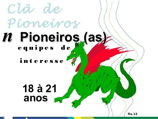 Clã dePioneirosn   Pioneiros (as)    e quipe s    de    int e re s s e     18 à 21     anos                      fls.12