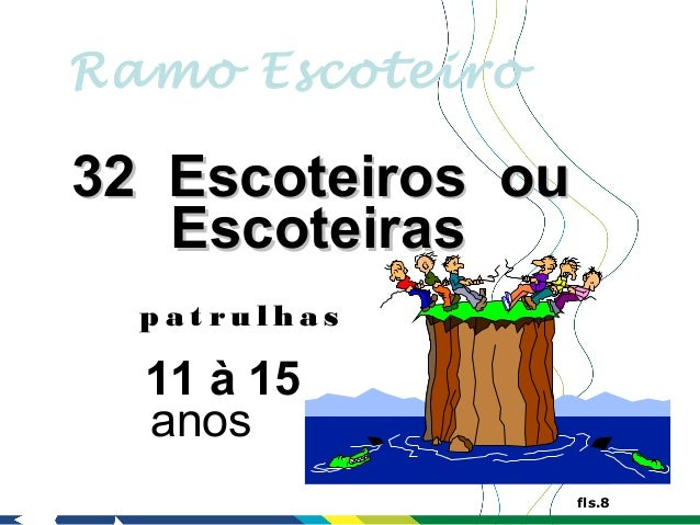 Ramo Escoteiro32 Escoteiros ou   Escoteiras  p at rul has  11 à 15  anos                   fls.8