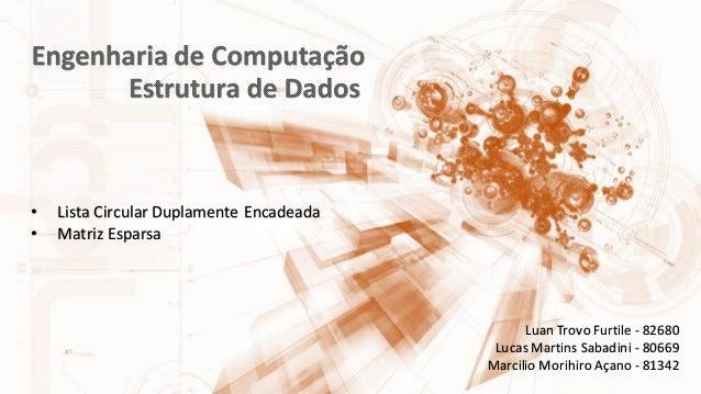 Luan Trovo Furtile - 82680 Lucas Martins Sabadini - 80669 Marcilio Morihiro Açano - 81342 • Lista Circular Duplamente Enca...