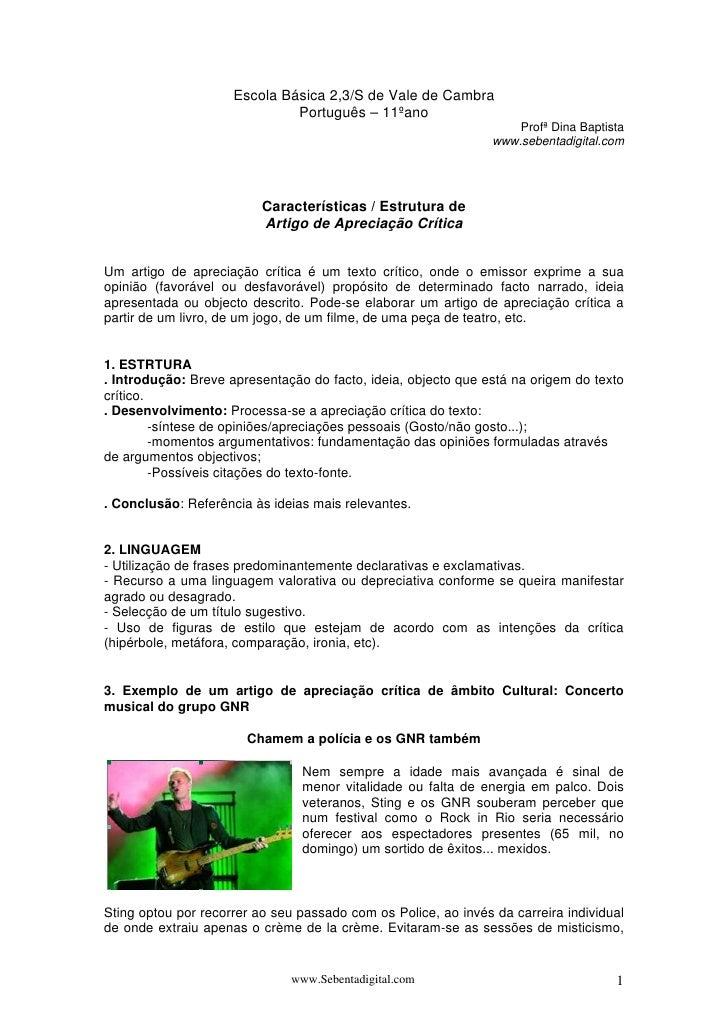 Escola Básica 2,3/S de Vale de Cambra                              Português – 11ºano                                     ...