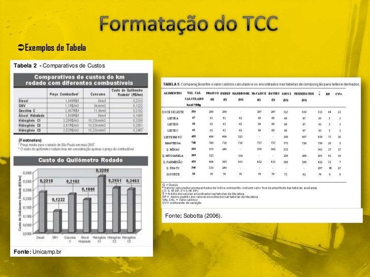 Exemplos de TabelaTabela 2 - Comparativos de Custos                                    Fonte: Sobotta (2006).Fonte: Unica...