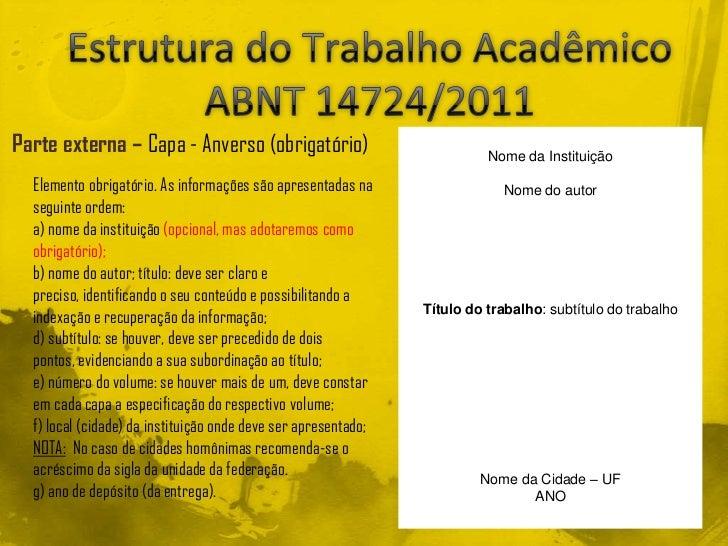 Estrutura do Trabalho Acadêmico Segundo a ABNT 14724/2011 Slide 3