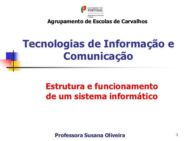 Agrupamento de Escolas de CarvalhosTecnologias de Informação e       Comunicação    Estrutura e funcionamento    de um sis...