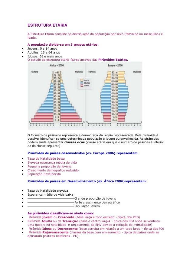 ESTRUTURA ETÁRIA A Estrutura Etária consiste na distribuição da população por sexo (feminino ou masculino) e idade. A popu...
