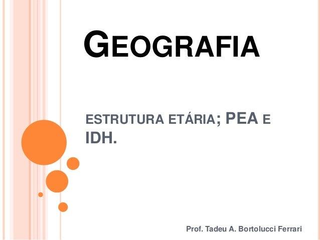 GEOGRAFIA Prof. Tadeu A. Bortolucci Ferrari ESTRUTURA ETÁRIA; PEA E IDH.