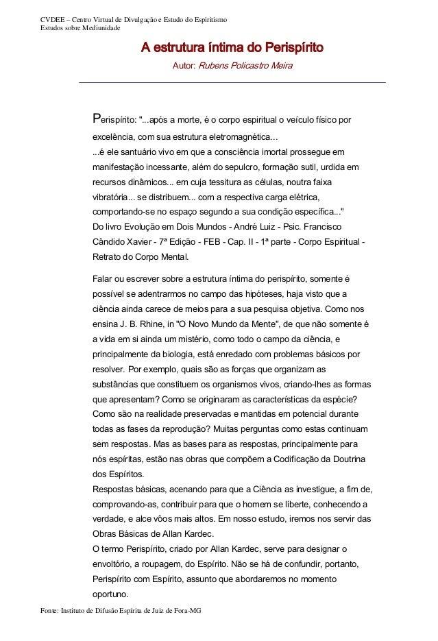 CVDEE – Centro Virtual de Divulgação e Estudo do Espiritismo Estudos sobre Mediunidade  A estrutura íntima do Perispírito ...