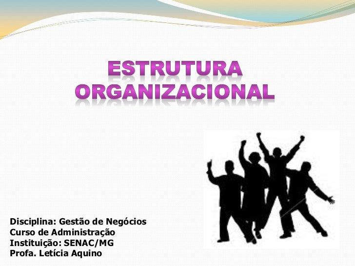 Disciplina: Gestão de NegóciosCurso de AdministraçãoInstituição: SENAC/MGProfa. Letícia Aquino
