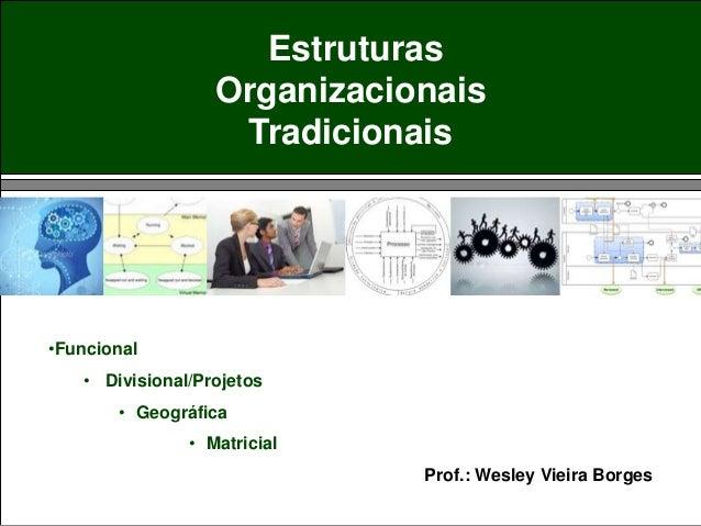 Estruturas Organizacionais Tradicionais •Funcional • Divisional/Projetos • Geográfica • Matricial Prof.: Wesley Vieira Bor...