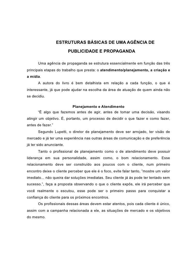 ESTRUTURAS BÁSICAS DE UMA AGÊNCIA DE                            PUBLICIDADE E PROPAGANDA        Uma agência de propaganda ...