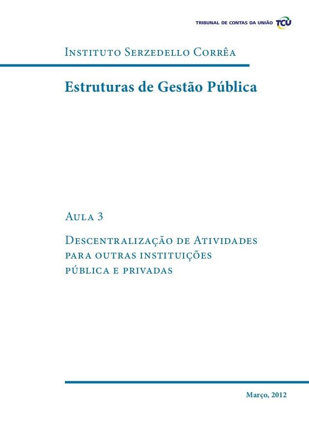 Instituto Serzedello Corrêa  Estruturas de Gestão Pública  Aula 3 Descentralização de Atividades para outras instituições ...