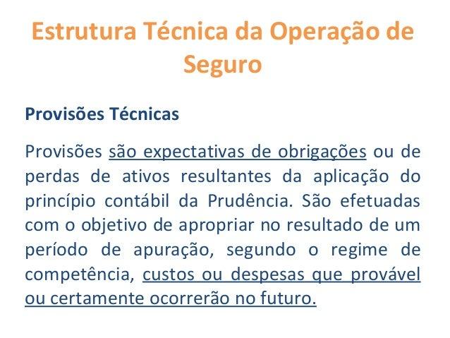 Estrutura Técnica da Operação de Seguro Provisões Técnicas Provisões são expectativas de obrigações ou de perdas de ativos...