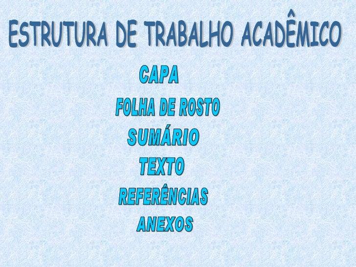 ESTRUTURA DE TRABALHO ACADÊMICO CAPA FOLHA DE ROSTO SUMÁRIO TEXTO REFERÊNCIAS ANEXOS