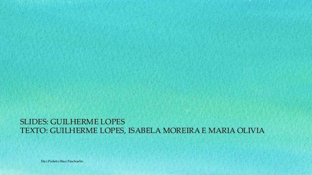 SLIDES: GUILHERME LOPES TEXTO: GUILHERME LOPES, ISABELA MOREIRA E MARIA OLIVIA Etec Prefeito Braz Paschoalin
