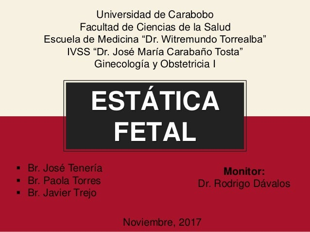 """ESTÁTICA FETAL Universidad de Carabobo Facultad de Ciencias de la Salud Escuela de Medicina """"Dr. Witremundo Torrealba"""" IVS..."""
