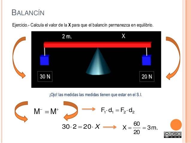 BALANCÍN Ejercicio.- Calcula el valor de la X para que el balancín permanezca en equilibrio. 2211 dFdF  X 20230 .m3 ...