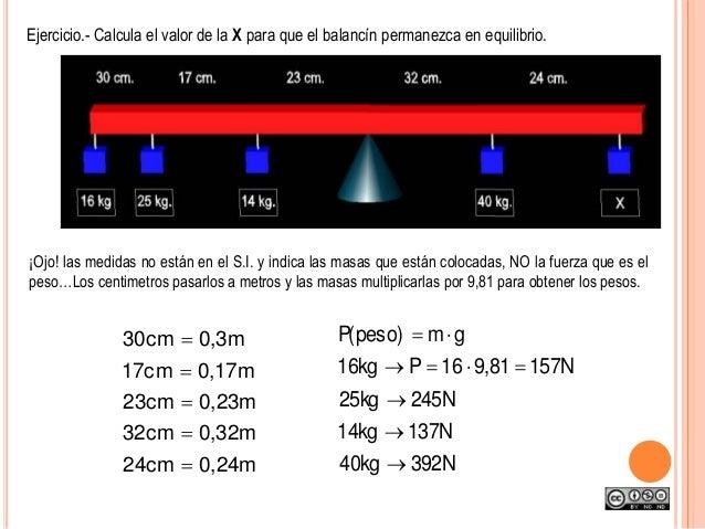 ¡Ojo! las medidas no están en el S.I. y indica las masas que están colocadas, NO la fuerza que es el peso…Los centimetros ...