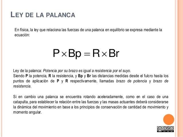 En física, la ley que relaciona las fuerzas de una palanca en equilibrio se expresa mediante la ecuación: Ley de la palanc...