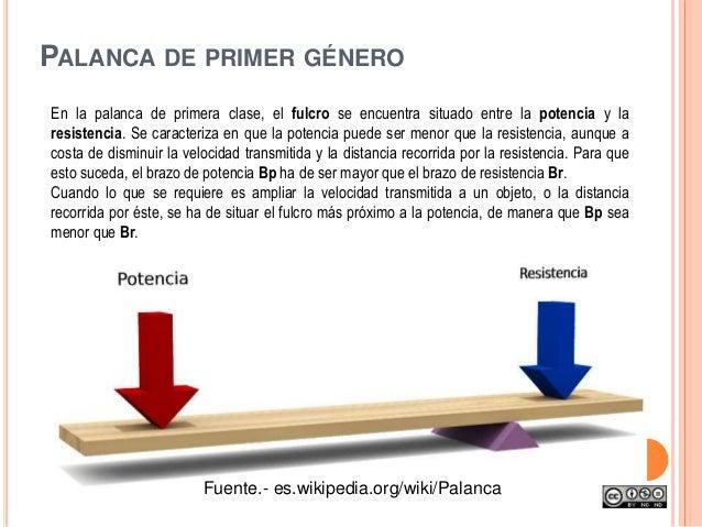 PALANCA DE PRIMER GÉNERO En la palanca de primera clase, el fulcro se encuentra situado entre la potencia y la resistencia...