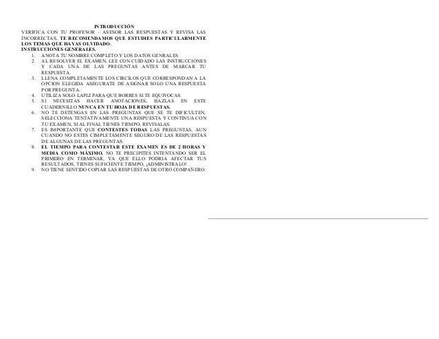 INTRODUCCIÓNVERIFICA CON TU PROFESOR – ASESOR LAS RESPUESTAS Y REVISA LASINCORRECTAS, TE RECOMENDAMOS QUE ESTUDIES PARTICU...