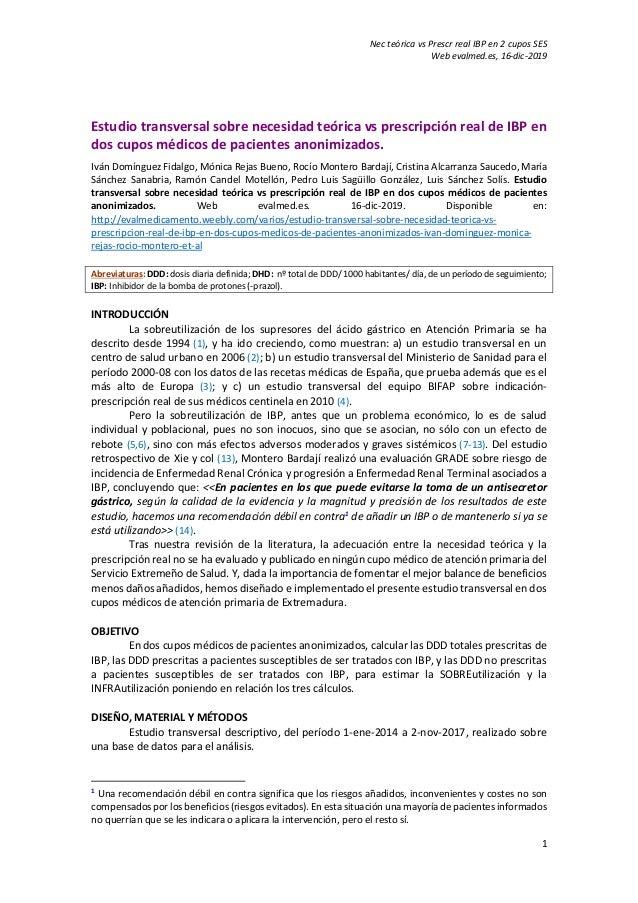 Nec teórica vs Prescr real IBP en 2 cupos SES Web evalmed.es, 16-dic-2019 1 Estudio transversal sobre necesidad teórica vs...