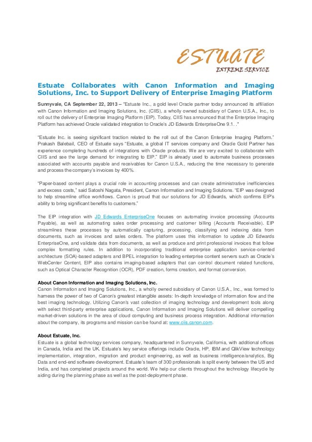 Estuate Collaborates with Canon Information and Imaging Solutions, Inc. to Support Delivery of Enterprise Imaging Platform...