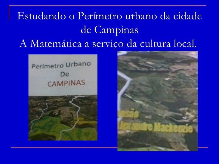 Estudando o Perímetro urbano da cidade            de CampinasA Matemática a serviço da cultura local.