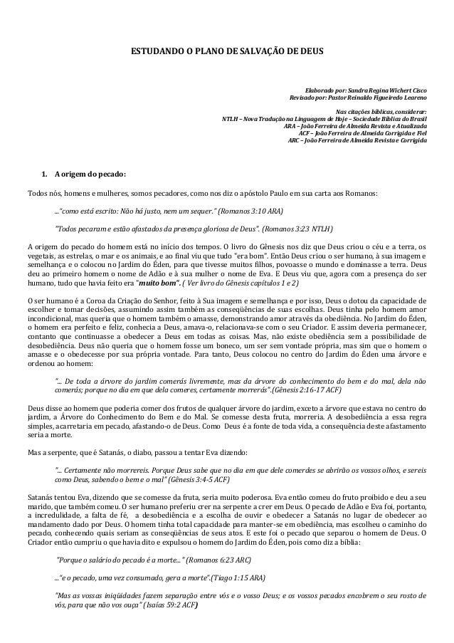 ESTUDANDO O PLANO DE SALVAÇÃO DE DEUS  Elaborado por: Sandra Regina Wichert Cisco Revisado por: Pastor Reinaldo Figueiredo...