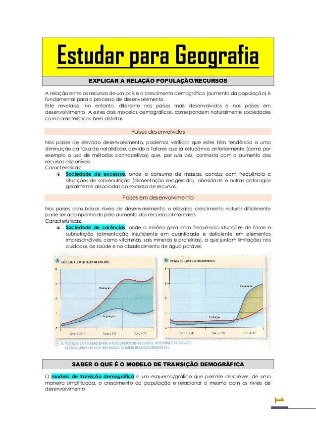 Estudar para Geografia                  EXPLICAR A RELAÇÃO POPULAÇÃO/RECURSOSA relação entre os recursos de um país e o cr...