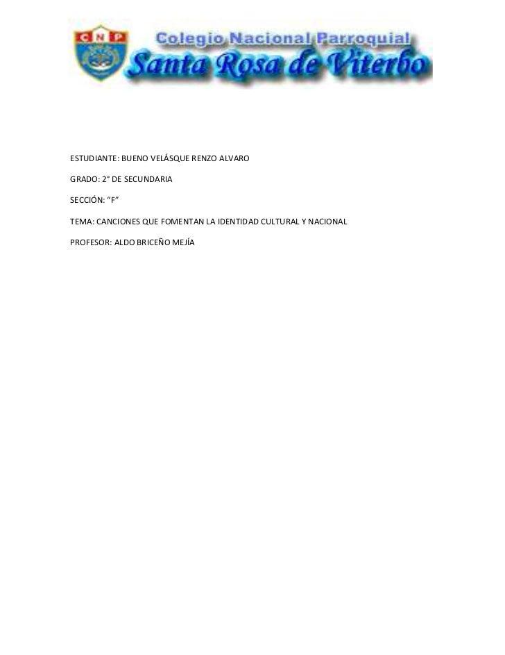 """-32385-614045<br />ESTUDIANTE: BUENO VELÁSQUE RENZO ALVARO<br />GRADO: 2° DE SECUNDARIA<br />SECCIÓN: """"F""""<br />TEMA: CANCI..."""