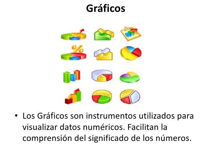 Gráficos<br />Los Gráficos son instrumentos utilizados para visualizar datos numéricos. Facilitan la comprensión del signi...