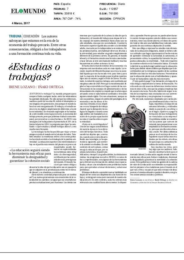 EL MUNDO. SÁBADO 4 DE MARZO DE 2017 7 i OPINIÓN El Partido Popular alentó el crecimiento de Podemos para debilitar al Part...